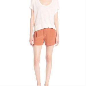 Joie Burnt Orange Terracotta Silk Wayward Shorts